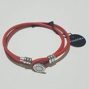 Pandora Double Leather Bracelet w/ 925 SS Clasp